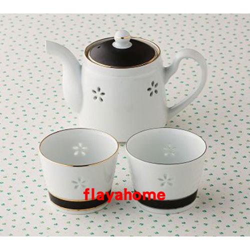 《富樂雅居》日本製 有田燒 雅緻刻花 一壺兩杯 茶壺 茶具組