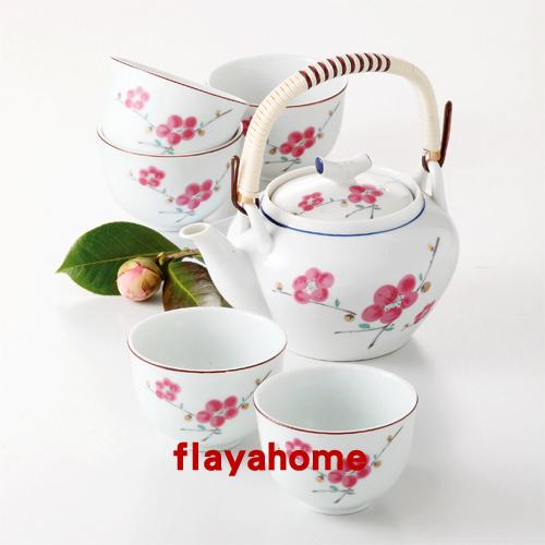 《富樂雅居》日本製 有田燒 茶器??? 梅 土瓶付茶器 一壺五杯 茶壺 茶具組