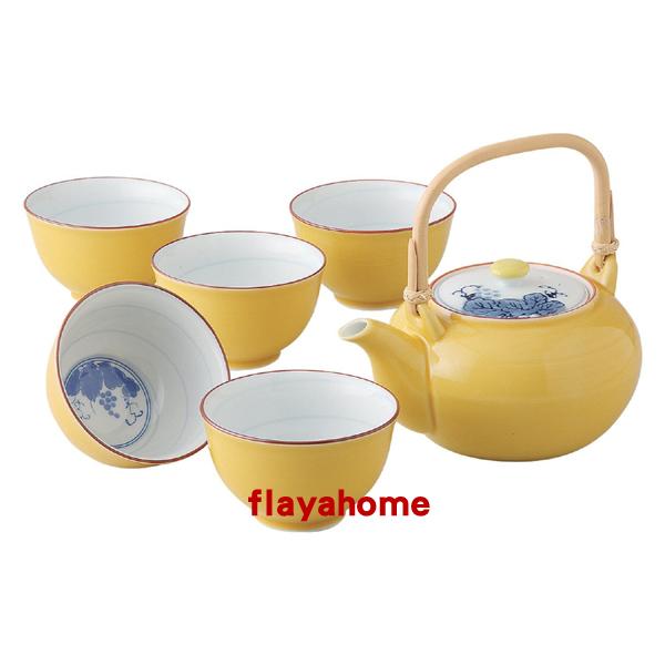 《富樂雅居》日本製 有田燒 ?釉??? 土瓶茶器 黃釉葡萄 一壺五杯 茶壺 茶具組