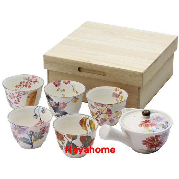 《富樂雅居》日本製 美濃燒 花萬葉 1壺5杯 急須壺 茶具組