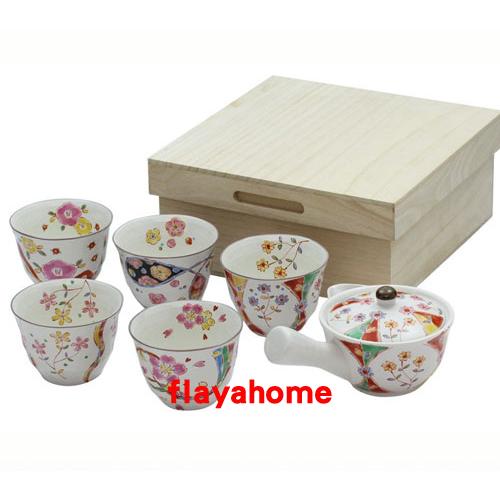 《富樂雅居》日本製 美濃燒 色繪萬福 1壺5杯 急須壺 茶具組
