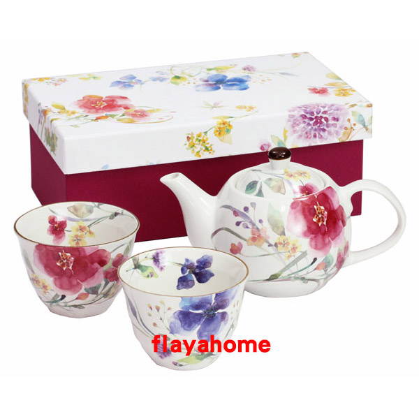 《富樂雅居》日本製 美濃燒 花水彩 1壺2杯 茶壺 茶具組