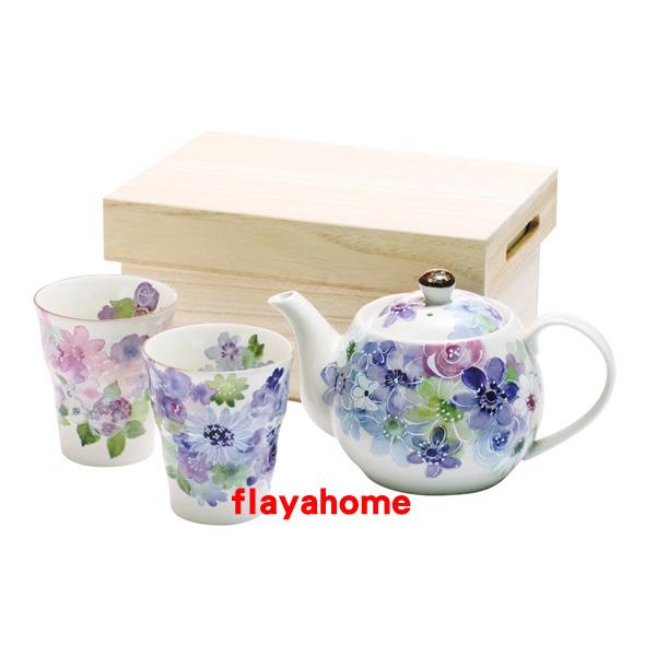 《富樂雅居》日本製 美濃燒 和藍 1壺2杯 茶壺 茶具組
