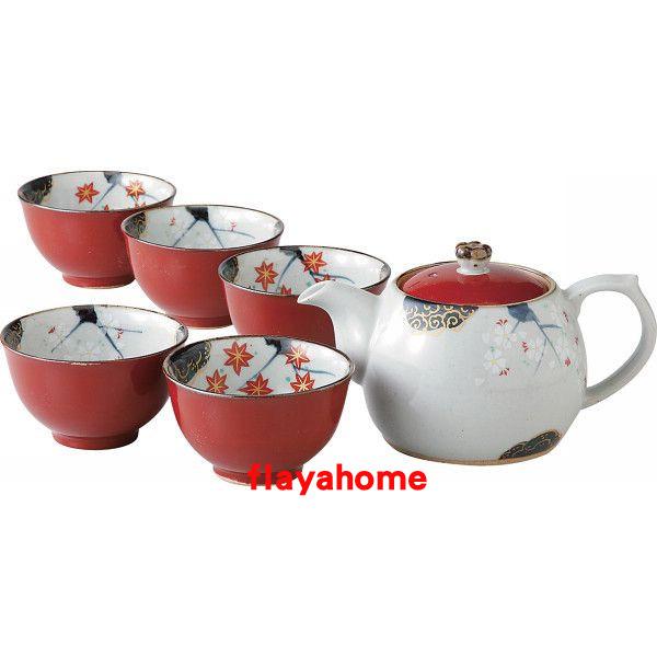 《富樂雅居》日本製 有田燒 朱卷春秋 一壺五杯 茶壺 茶具組
