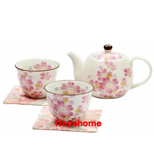 《富樂雅居》日本製 美濃燒 花祭 1壺2杯 茶壺 茶具組