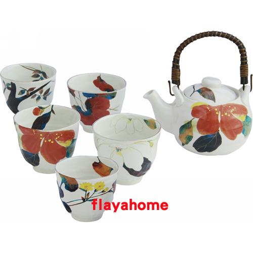 《富樂雅居》日本製 美濃燒 和藍 花???? 土瓶茶器揃 花之賞 一壺五杯 茶壺 茶具組