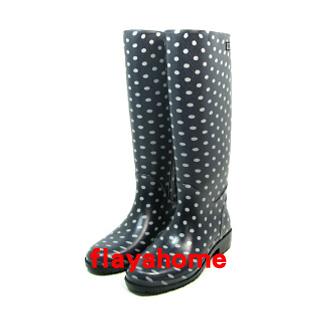 《富樂雅居》日本製 雨鞋 長雨靴 / 藍底水玉