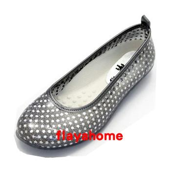 《富樂雅居》日本製 雨鞋 娃娃鞋 / 銀色水玉