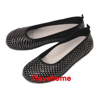《富樂雅居》日本製 雨鞋 娃娃鞋 / 黑底銀色水玉