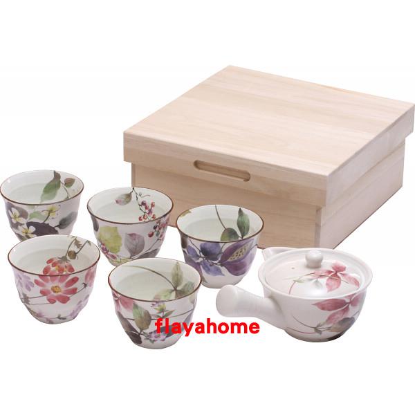 《富樂雅居》日本製 美濃燒 花里 一壺五杯 急須壺 茶具組