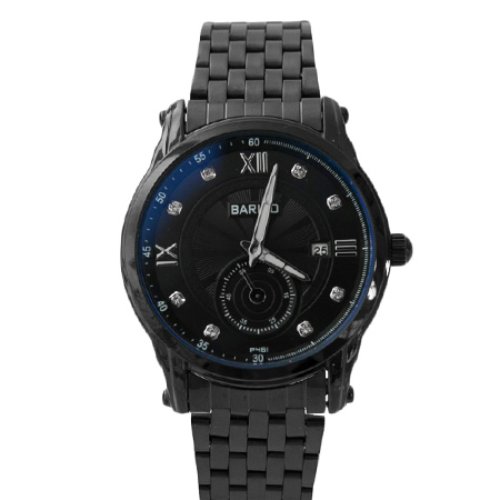 手錶 水鑽刻度全黑秒盤設計質感金屬腕錶 日期窗顯示 大小款情侶對錶 柒彩年代【NE1598】單支