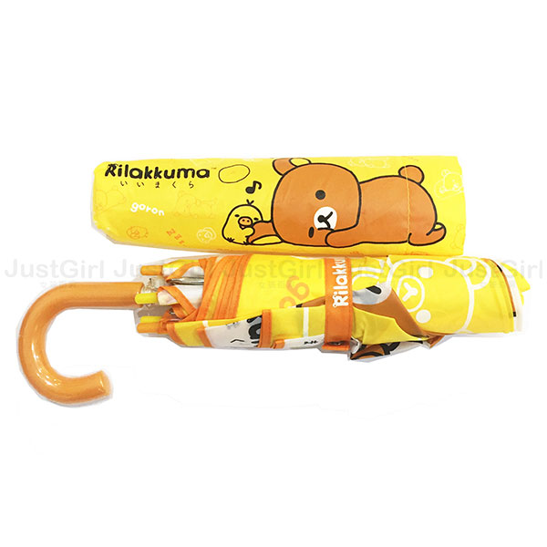 懶懶熊 拉拉熊 雨傘 三折傘 摺疊傘 隨身傘 彎把輕量型 黃色睡覺 居家 正版日本進口 * JustGirl *
