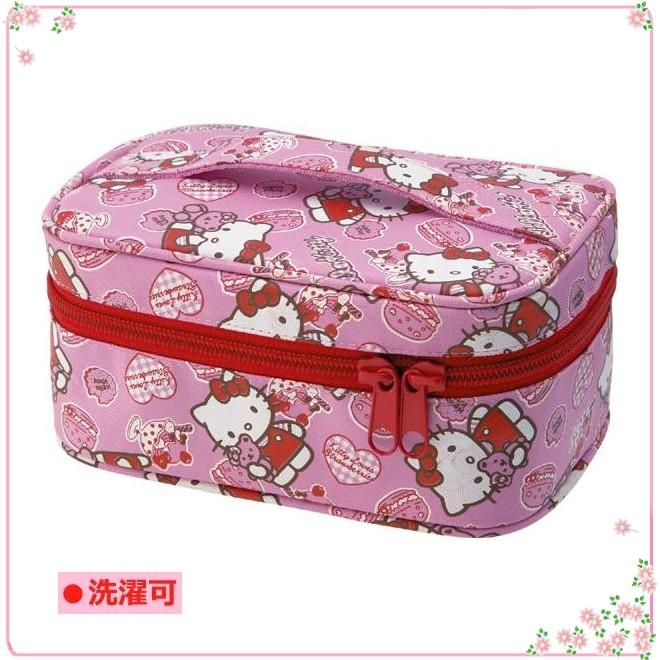 asdfkitty可愛家☆KITTY泰迪熊 化妝包/濕紙巾收納袋-可放暖暖包 溫暖濕紙巾-日本正版