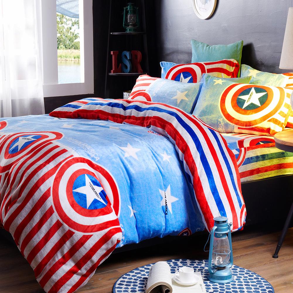 雙人四件式 法蘭絨兩用毯被套舖棉床包組 星星隊長 哇哇購