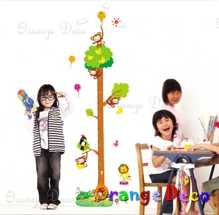猴子身高尺 DIY組合壁貼 牆貼 壁紙 無痕壁貼 室內設計 裝潢 裝飾佈置【橘果設計】