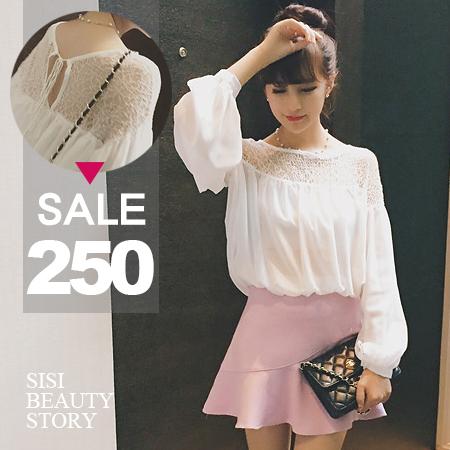 SISI【L6035】時尚淑女氣質露肩鏤空蕾絲拼接雪紡後綁帶娃娃衫上衣