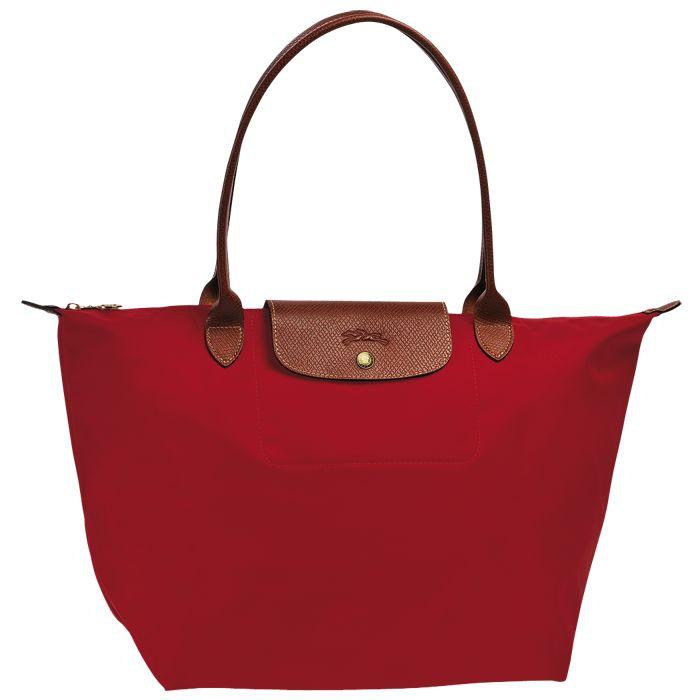 [1899-M號] 國外Outlet代購正品 法國巴黎 Longchamp 長柄 購物袋防水尼龍手提肩背水餃包紅色