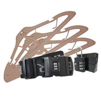 行李箱專利配件加值組 (專用綁帶x1/專利摺疊衣架x3/TSA海關鎖x1)