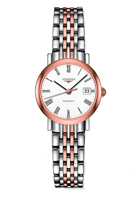 LONGINES L43095117雙色玫瑰金羅馬優雅機械腕錶/白面25.5mm