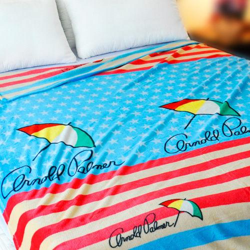 【橘紋星星】雨傘牌 法蘭絨舒眠保暖毛毯 ◆ HOUXURY台灣製