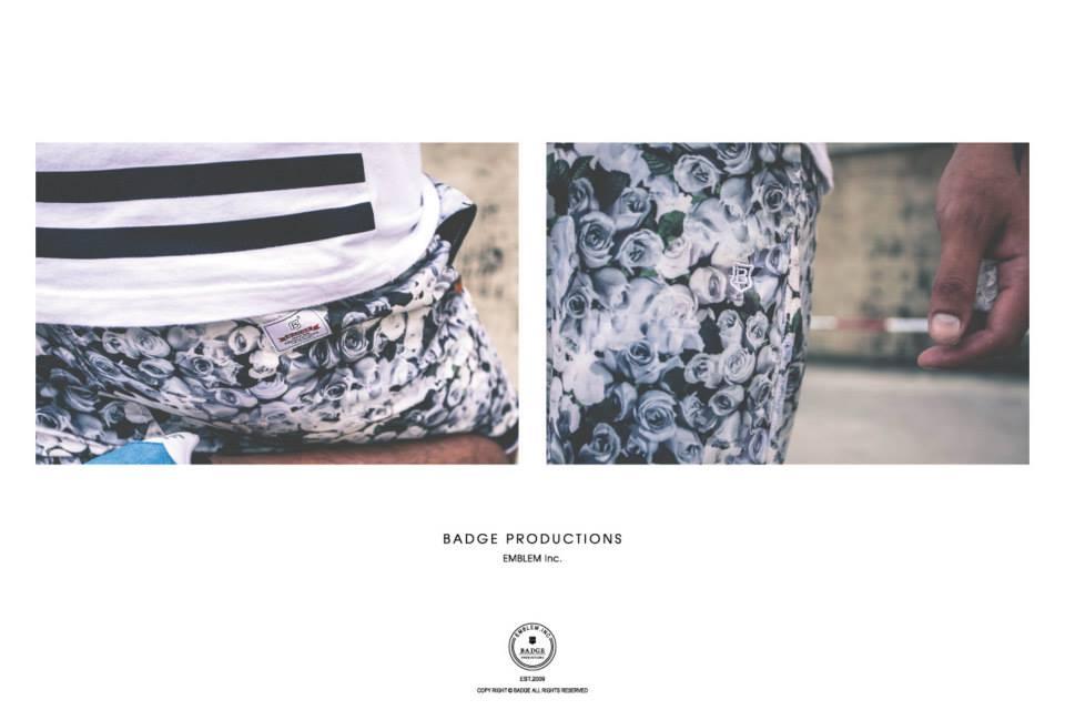 [BADGE網路直營商店]LET S GO OUTSIDE BeachShorts-whiterose白玫瑰海灘褲