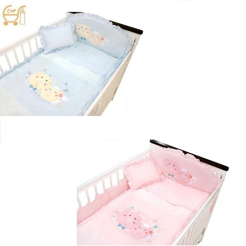 *美馨兒* 東京西川 GMP Baby-[幸福豬]抗蹣菌七件組/嬰兒床組(二色可挑)2980元