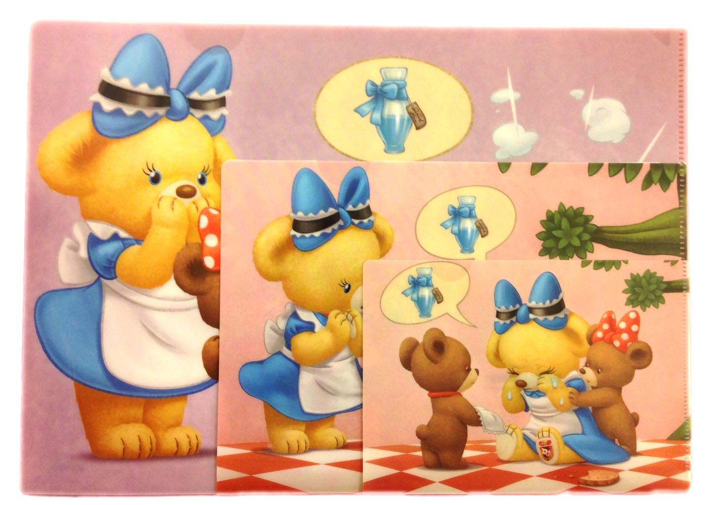 【真愛日本】 16070800060專賣店資料夾3入-大學熊變裝艾莉絲紫 迪士尼專賣店限定 資料夾 文件夾 文具用品