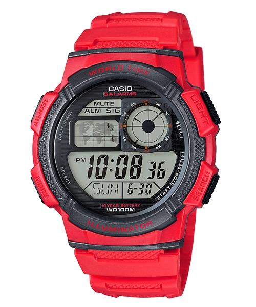CASIO G-SHOCK AE-1000W-4A經典地圖數位腕錶/紅44mm