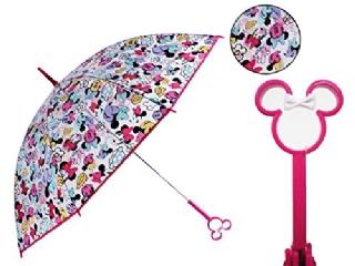『日本代購品』粉柄滿版米妮款 日本 迪士尼 米妮鏤空造型把手 透明直傘 雨傘
