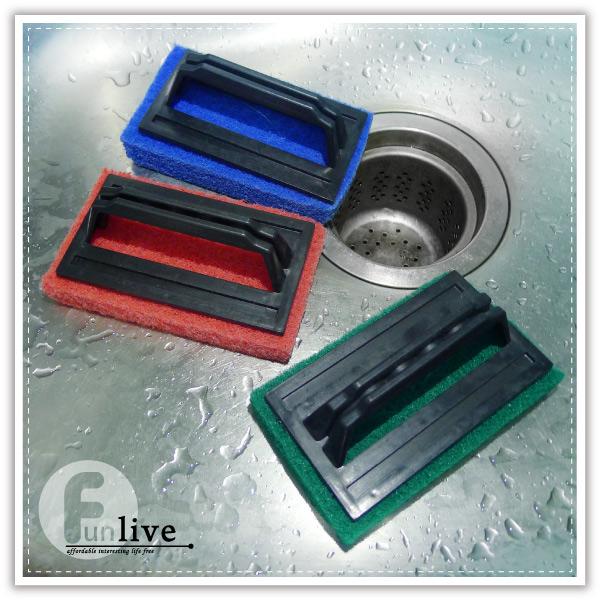 【aife life】握柄式菜瓜布刷/浴缸刷/除垢清潔刷/廚房/浴室/磁磚刷/水槽清潔刷/清潔布
