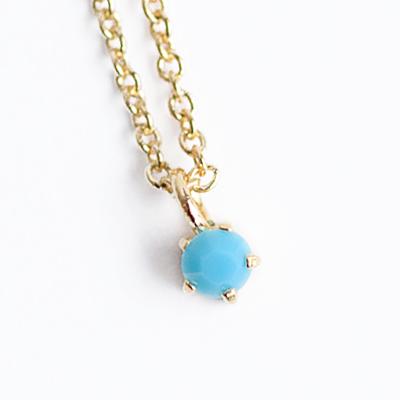 〔APM飾品〕日本Lilou 12月份誕生石色澤水晶玻璃項鍊 (土耳其石)