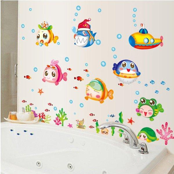 BO雜貨【YV0629】DIY時尚裝飾組合可移動壁貼 牆貼 壁貼 創意壁貼 海洋世界魚寶寶XY8109 AY7153