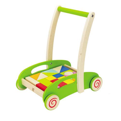 【淘氣寶寶】德國 Hape 愛傑卡 彩色積木推車(附20塊彩色積木)/兒童玩具/學步車/木製玩具