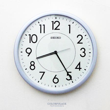 SEIKO精工掛鐘 亮眼銀藍色外框時鐘 面板夜光功能 滑動式靜音秒針 柒彩年代【NG1725】原廠公司貨