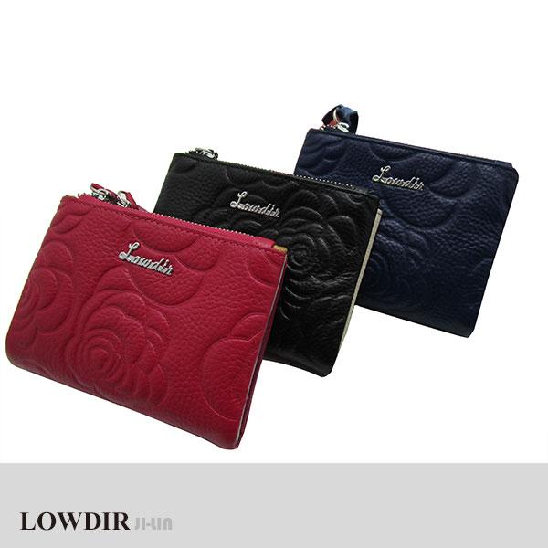 LD-3394【LOWDIR 露蒂兒】真皮高質感玫瑰印紋短夾 (三色)