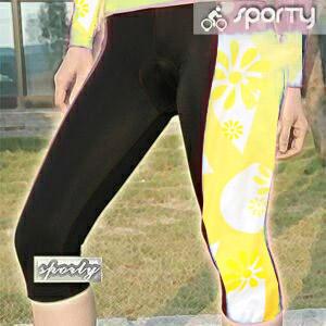 【sporty】黃色女性四針六分車褲.自行車.腳踏車.卡打車.單車.小折.騎行服P082-C0200