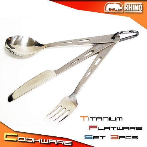 [RHINO 犀牛] 鈦合金刀叉匙(3合1)組合.露營用品.戶外用品.野炊.餐具