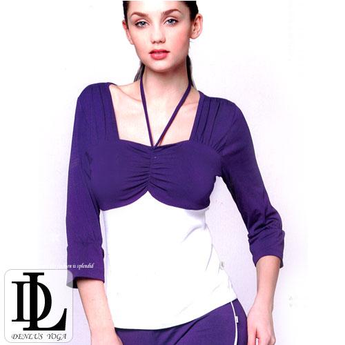 【DENLUS】天蠶絲七分袖有氧韻律瑜珈運動套裝(DL109208上衣+DL109810褲子) .健身.有氧
