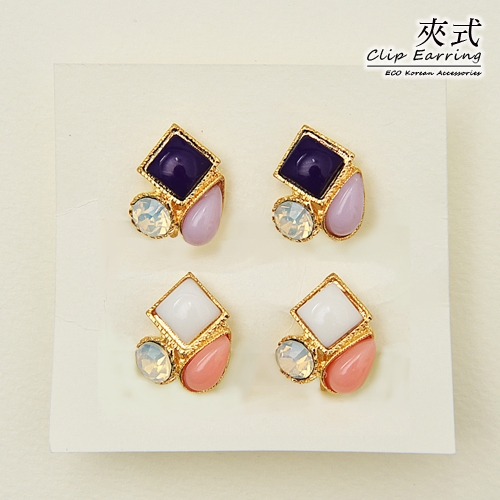 (預購)ECO安珂.俏麗方塊水滴綴蛋白石 夾式耳環(螺旋夾/2色)【2-1673】