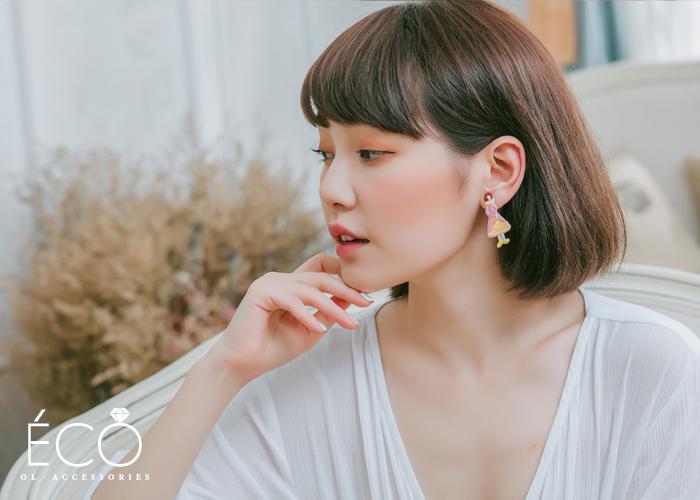 女孩,刺繡,夾式耳環,無耳洞耳環,韓製,韓國,耳環