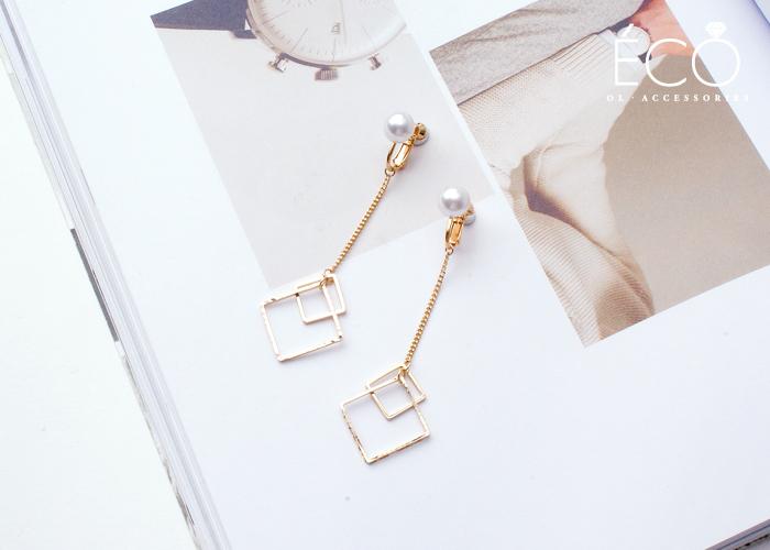 幾何,菱形,垂墜夾式耳環,無耳洞耳環,韓製,韓國,耳環