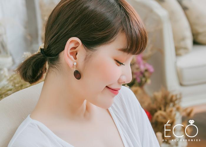 原木,珍珠,垂墜夾式耳環,無耳洞耳環,韓製,韓國,耳環