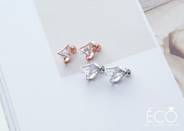 幾何三角,婚宴夾式耳環,伴娘夾式耳環,垂墜夾式耳環,無耳洞耳環,韓製,韓國,耳環