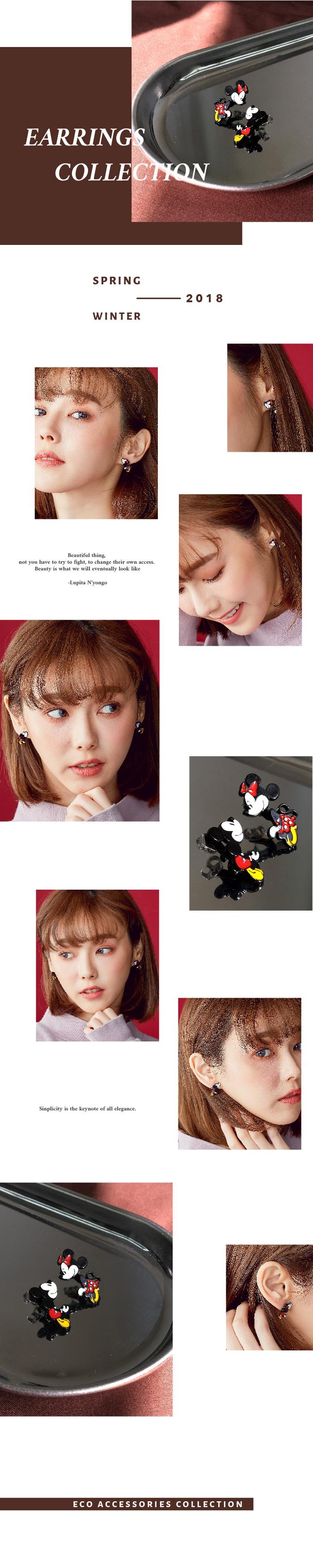 夾式耳環,耳夾,米奇耳環,米妮耳環,韓國耳環,不對稱耳環,童趣耳環,矽膠夾耳環,矽膠耳夾,eco安珂飾品,貼耳耳環