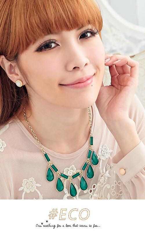 綠寶石,水滴,長方形,短項鍊,韓製,韓國,項鍊