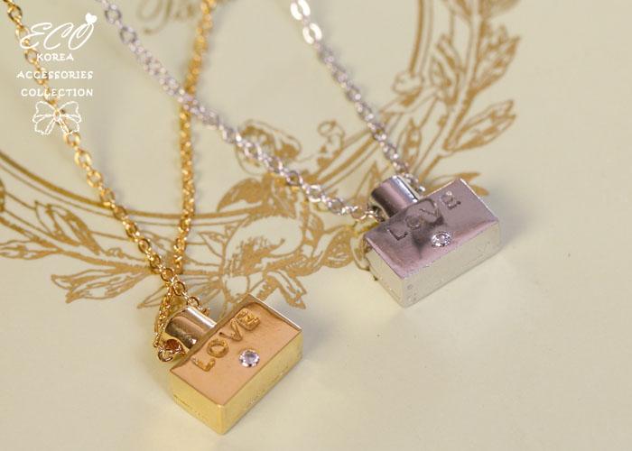 香水瓶,LOVE,愛心,鎖骨項鍊,韓製,韓國,項鍊