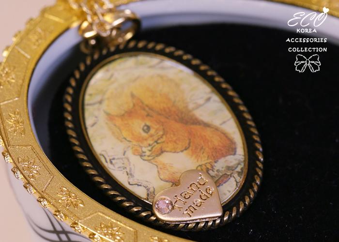 松鼠,鑽,愛心,插畫,相框,長項鍊,韓貨,韓製,項鍊