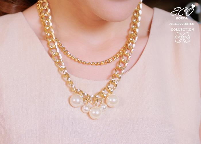 鎖鍊,雙鍊,珍珠,短項鍊,韓貨,韓製,項鍊