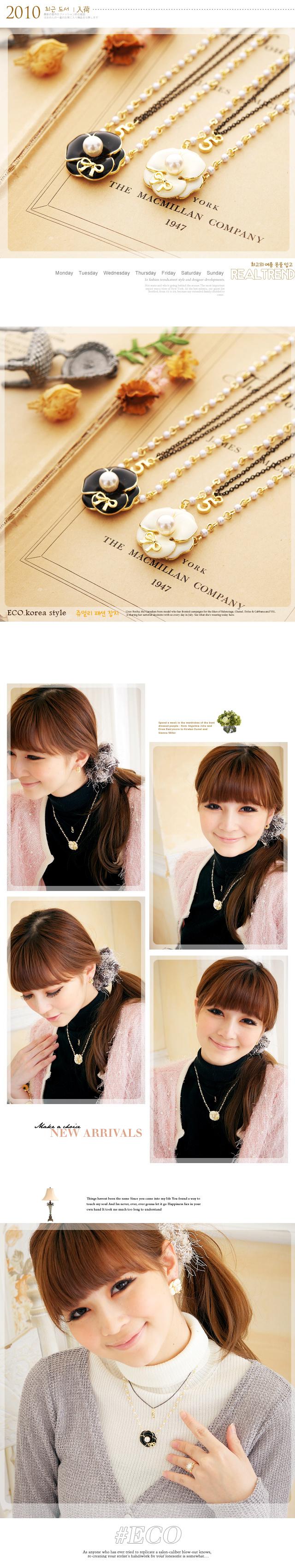 山茶花項鍊,花朵項鍊,數字項鍊,雙鍊項鍊,韓國項鍊,韓國製項鍊,韓國飾品,項鍊