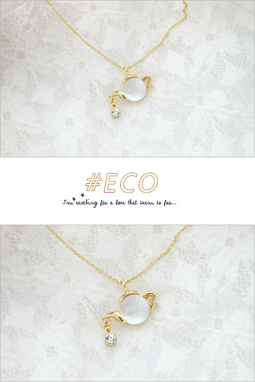 茶壺項鍊,鎖骨項鍊,珠貝項鍊,短項鍊,韓國製項鍊,韓國飾品,項鍊